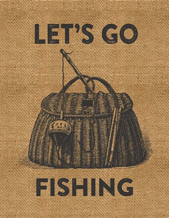 Framed Go Fishing Burlap Print