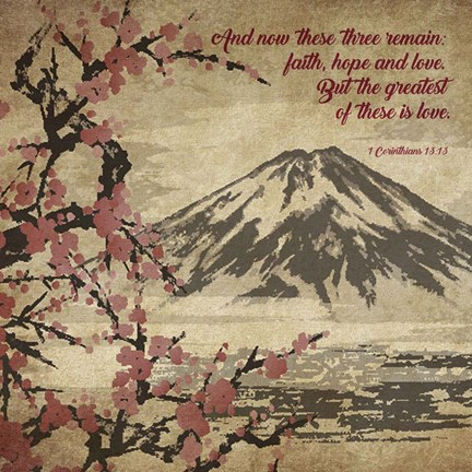 Framed 1 Corinthians 13:13 Faith, Hope and Love (Japanese) Print
