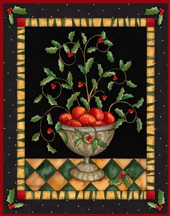 Framed Apples In Dish Print