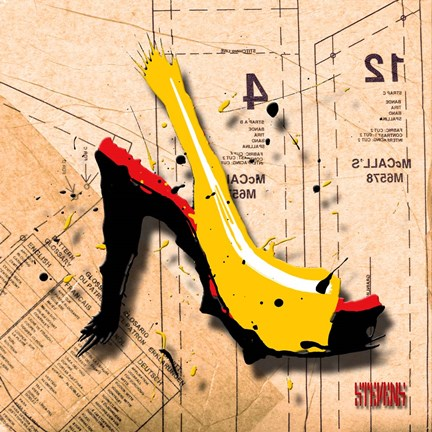 Framed Suede Heel Yellow Red Sole Print