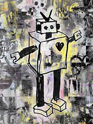 Framed Robot Graffiti Color Print