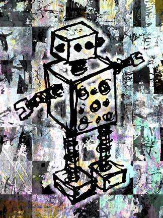 Framed Sketched Robot Color Print