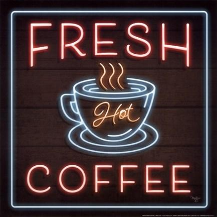 Framed Neon Fresh Coffee Print