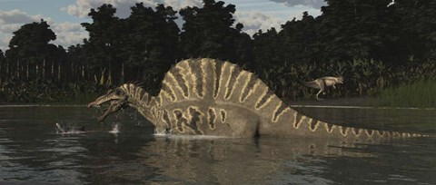 Framed Spinosaurus Hunting For Fish In A Lake Print