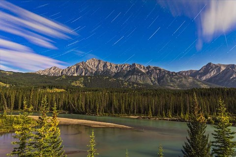 Framed Star trails above the Front Ranges in Banff National Park, Alberta, Canada Print