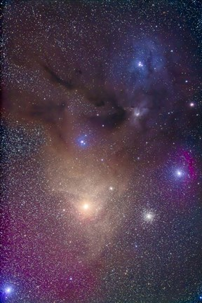 Framed colorful region around Antares in Scorpius and blue Rho Ophiuchi in Ophiuchus Print