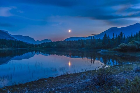 Framed Crescent moon over Middle Lake in Bow Valley, Alberta, Canada Print