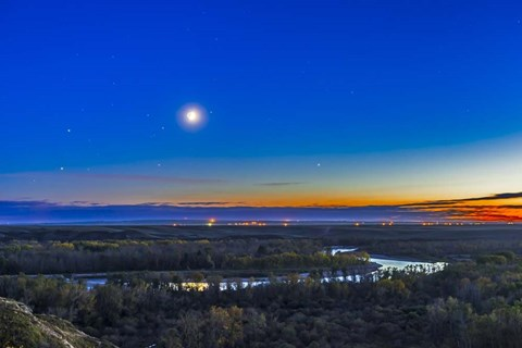 Framed Moon with Antares, Mars and Saturn over Bow River in Alberta, Canada Print