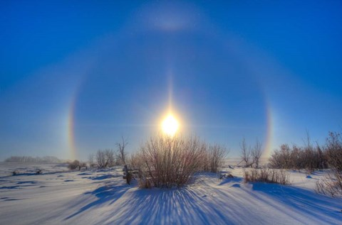 Framed High dynamic range photo of sundogs and a solar halo around the Sun Print