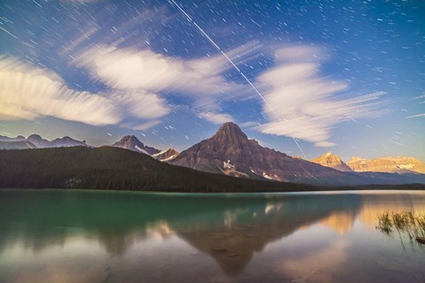Framed Space Station over Mt Chephren in Banff National Park, Canada Print
