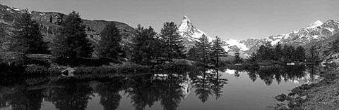 Framed Matterhorn reflecting into Grindjisee Lake, Zermatt, Valais Canton, Switzerland Print