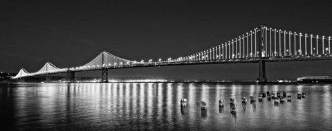 Framed Bay Bridge lit up at night, San Francisco, California Print