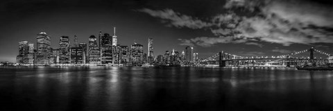 Framed Illuminated skylines at the waterfront, Manhattan Print