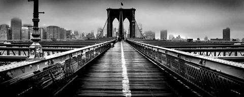 Framed Fog over the Brooklyn Bridge, Brooklyn, Manhattan, NY Print