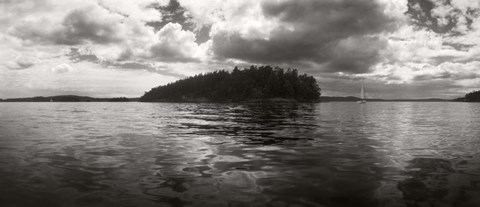 Framed Island in the Pacific Ocean against cloudy sky, San Juan Islands, Washington State Print