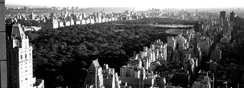Framed High angle view of buildings in a city, Central Park, Manhattan, NY Print