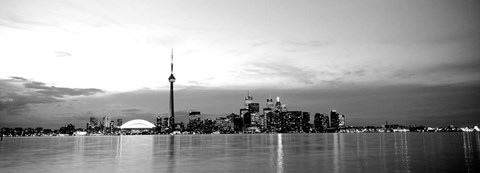 Framed Buildings at the waterfront, CN Tower, Toronto, Ontario, Canada Print