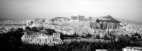 Framed High angle view of buildings in a city, Acropolis, Athens, Greece Print