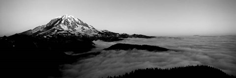 Framed Sea of clouds with mountains in the background, Mt Rainier, Washington State Print