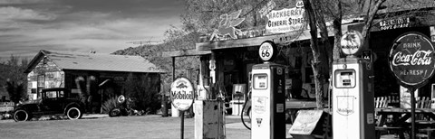 Framed Store with a gas station on the roadside, Route 66, Hackenberry, Arizona Print