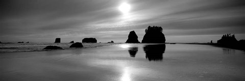 Framed Silhouette of sea stacks at sunset, Second Beach, Olympic National Park, Washington State Print
