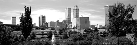 Framed Downtown skyline from Centennial Park, Tulsa, Oklahoma Print