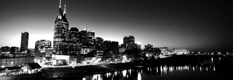Framed Skylines at night along Cumberland River, Nashville, Tennessee Print