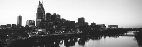 Framed Skylines at dusk along Cumberland River, Nashville, Tennessee Print