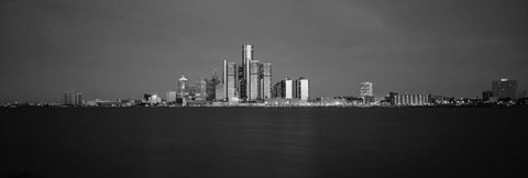 Framed Buildings at waterfront, Detroit, Michigan Print