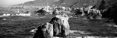 Framed Rock formations on the beach, Big Sur, Garrapata State Beach, California Print