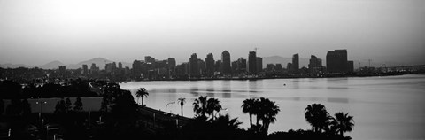Framed Silhouette of buildings at the waterfront, San Diego, San Diego Bay, California Print