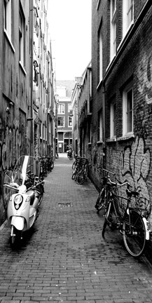 Framed Scooters and bicycles parked in a street, Amsterdam, Netherlands Print