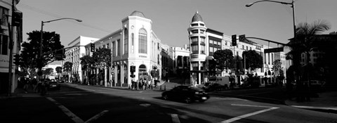 Framed Car moving on the street, Rodeo Drive, Beverly Hills, California Print