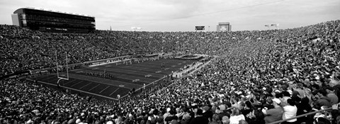 Framed Football stadium full of spectators, Notre Dame Stadium, South Bend, Indiana Print