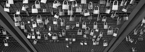 Framed Locks of Love on a fence, Hohenzollern Bridge, Cologne, Germany Print