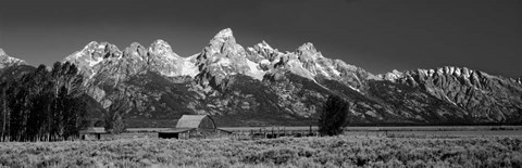 Framed Barn On Plain Before Mountains, Grand Teton National Park, Wyoming Print