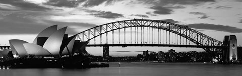 Framed Sydney Harbour Bridge At Sunset, Sydney, Australia Print