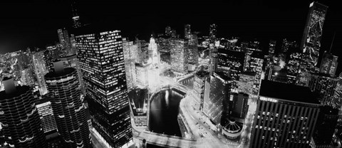Framed Illinois, Chicago, Chicago River, High angle view of the city at night Print