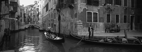 Framed Tourists in a gondola, Venice, Italy Print