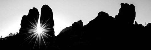 Framed Silhouette of cliffs at Arches National Park, Grand County, Utah Print