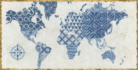 Framed Indigo Gild Map Maki Print