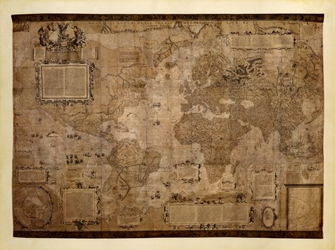 Framed Map of the World, c.1500's (antique style) Print