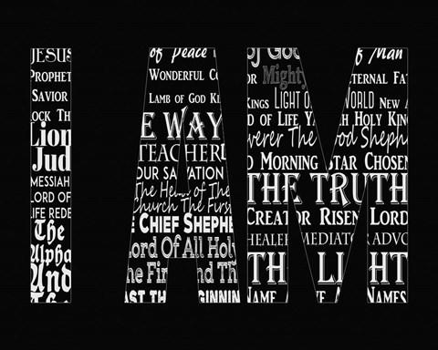 Names Of Jesus I Am Silhouette Black Fine Art Print By