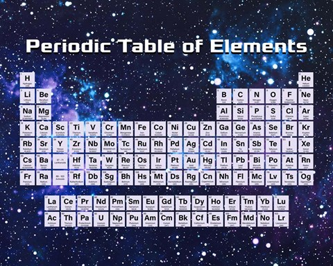 Periodic Table Of Elements Space Theme Fine Art Print By