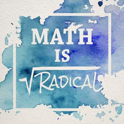 Math Is Radical Watercolor Splash Blue Fine Art Print By