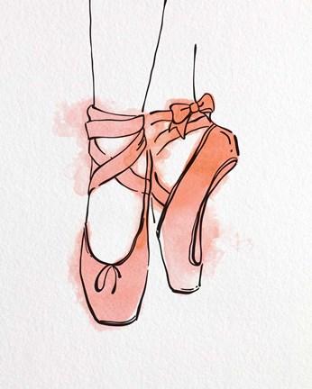 Ballet Shoes En Pointe Orange Watercolor Part Iii Fine Art