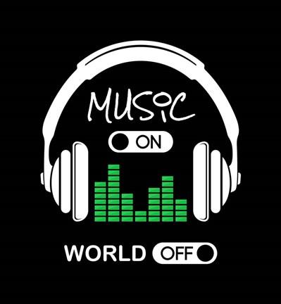 Music On World Off Headphones Black Background Fine Art