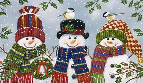 Snowman Trio Fine Art Print By William Vanderdasson At