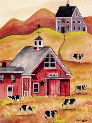 Cow Folk Art Barn Fine Art Print By Cheryl Bartley At
