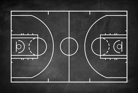 Basketball Court Chalkboard Background Fine Art Print By